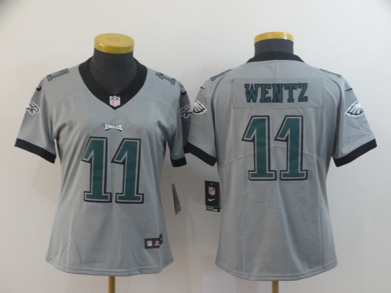 Nike Eagles 11 Carson Wentz Silver Women Inverted Legend Limited Jersey
