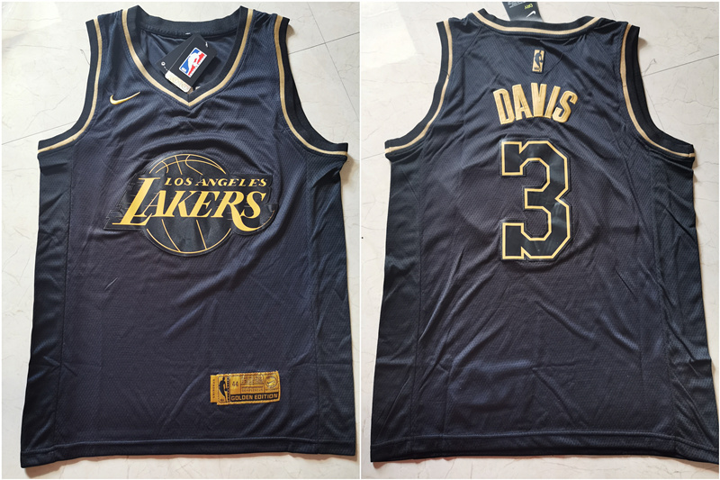 Lakers 3 Anthony Davis Black Gold Nike Swingman Jersey