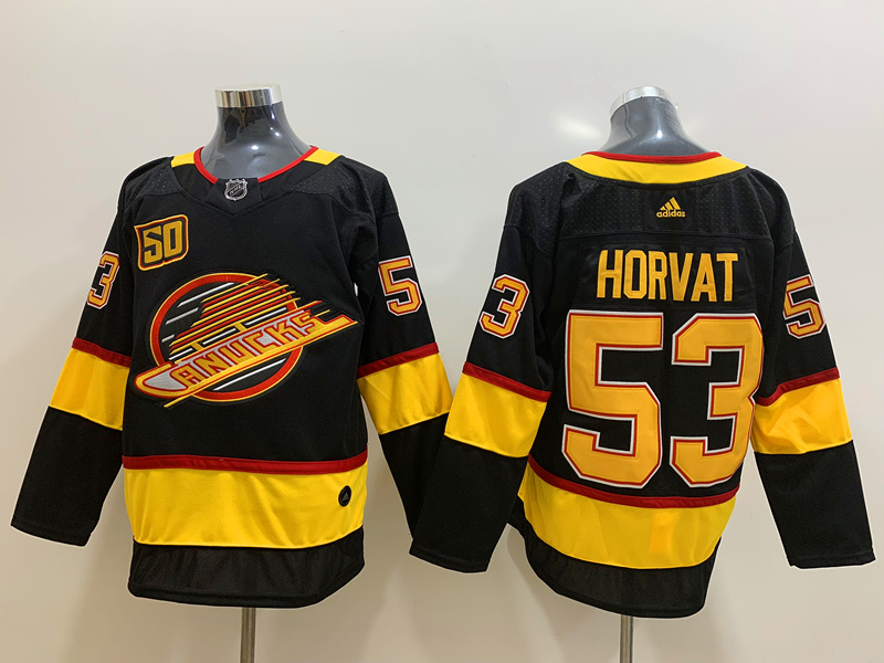 Canucks 53 Bo Horvat Black 50th Season Adidas Jersey