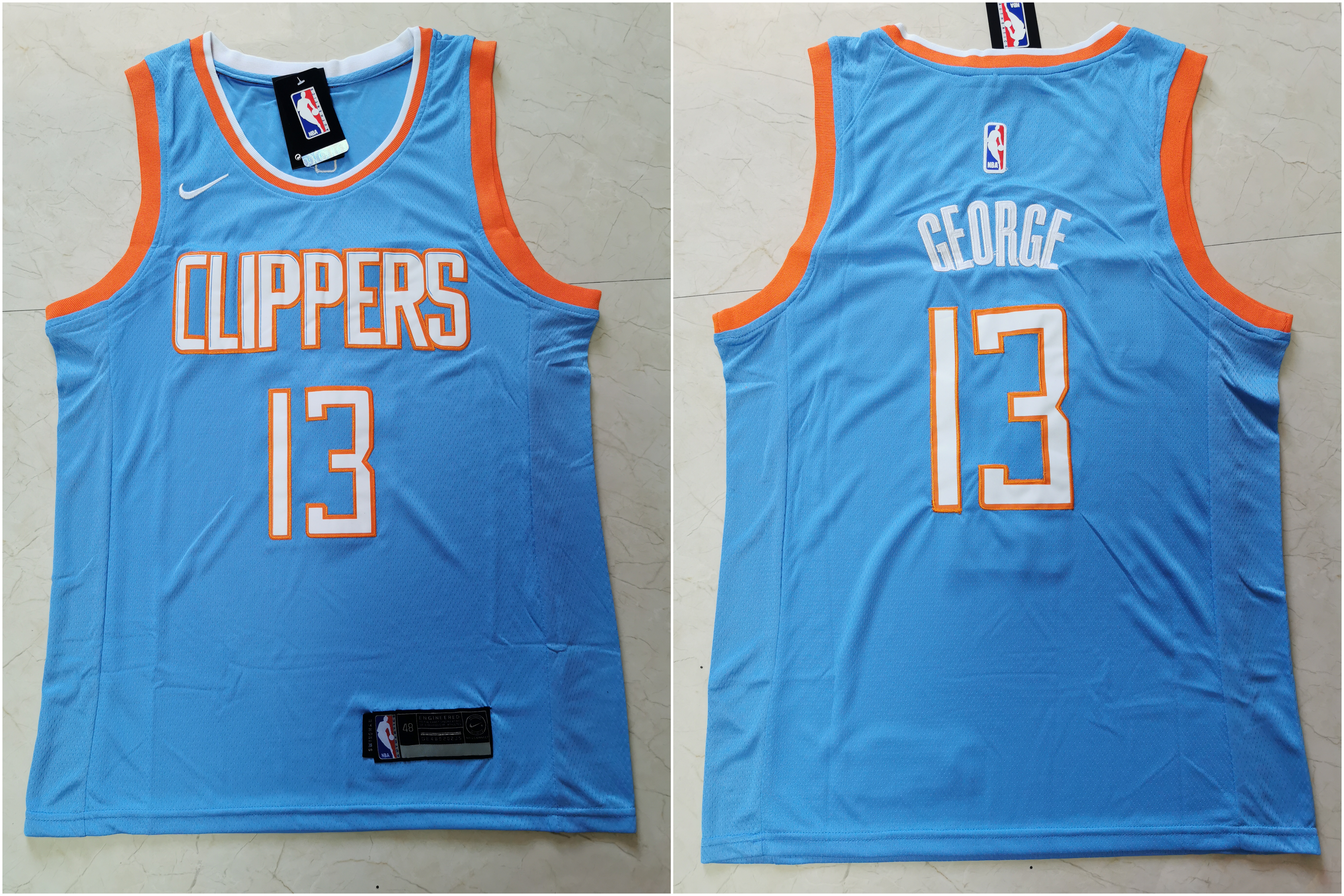 Clippers 13 Paul George Light Blue City Edition Nike Swingman Jersey