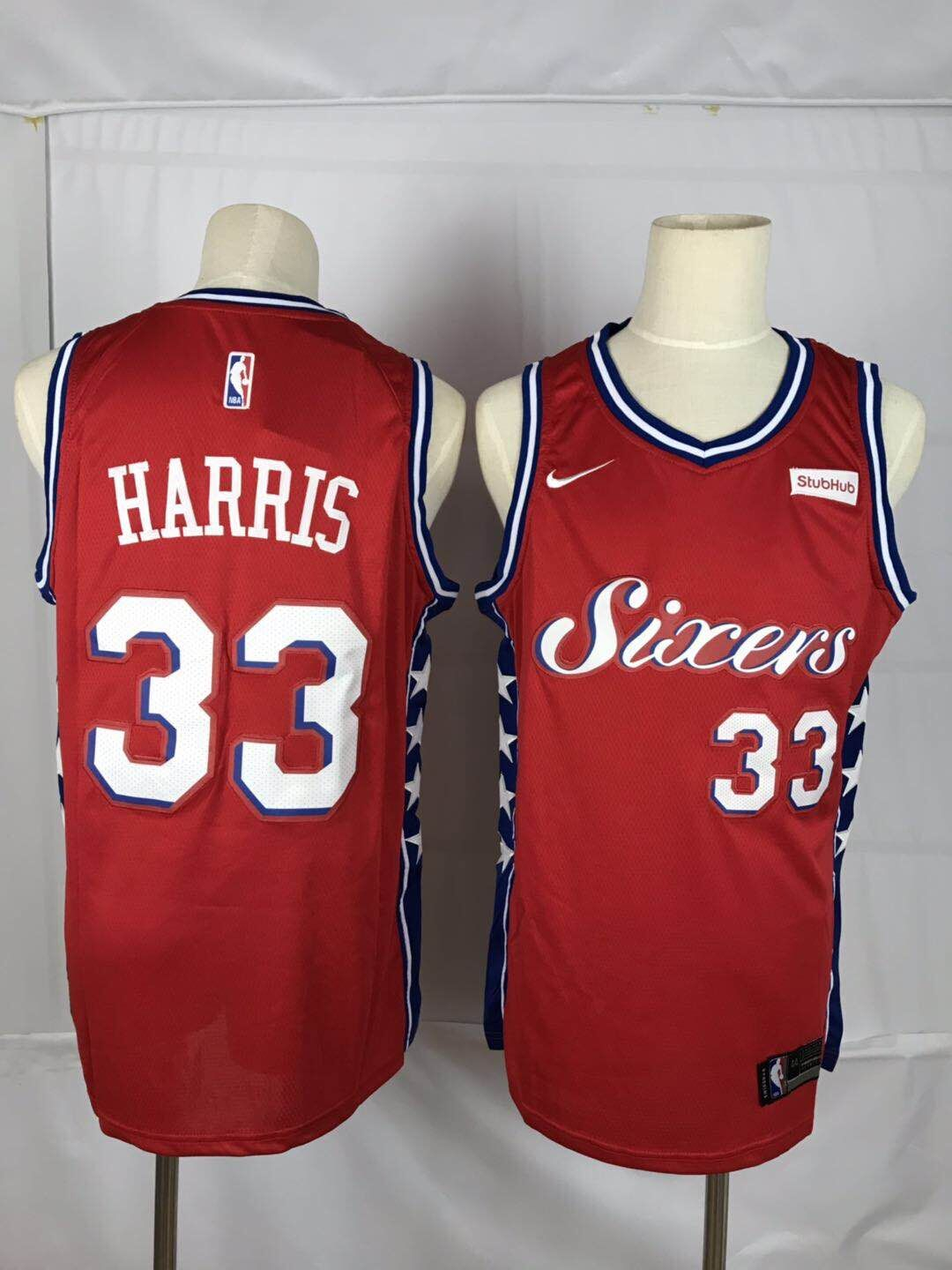 76ers 33 Tobias Harris Red Nike Throwback Swingman Jersey