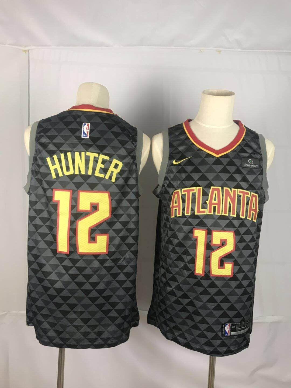 Hawks 12 De'Andre Hunter Black Nike Swingman Jersey