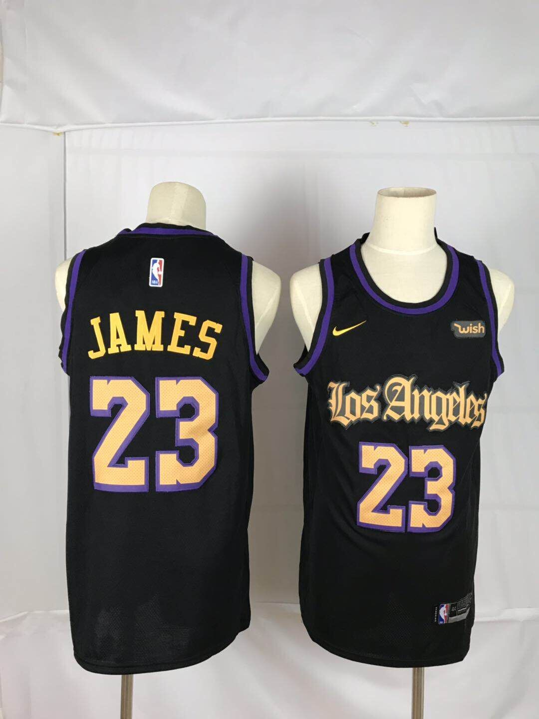 Lakers 23 Lebron James Black Nike Swingman Jersey