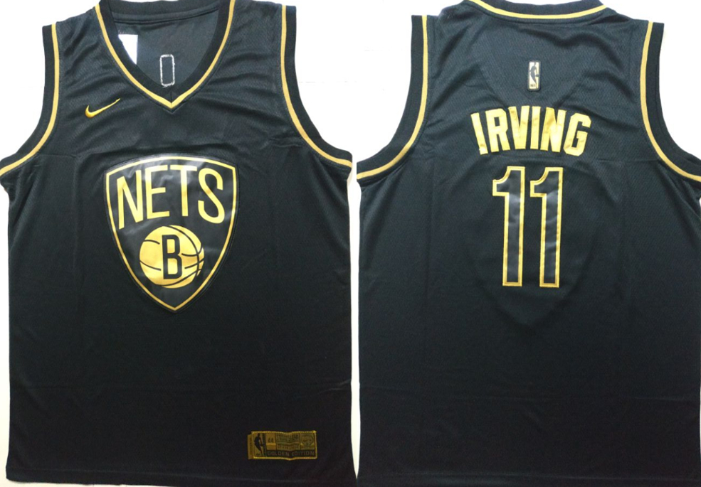Nets 11 Kyrie Irving Black Gold Nike Swingman Jersey