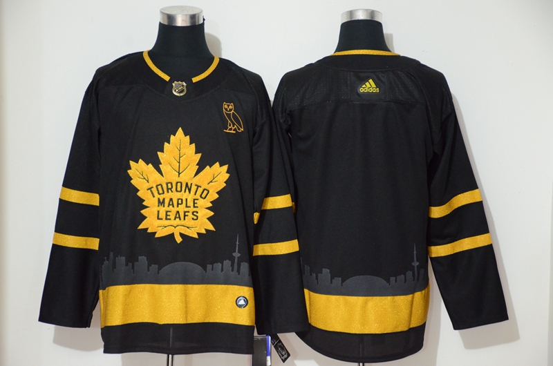 Maple Leafs Blank Black Gold Adidas Jersey