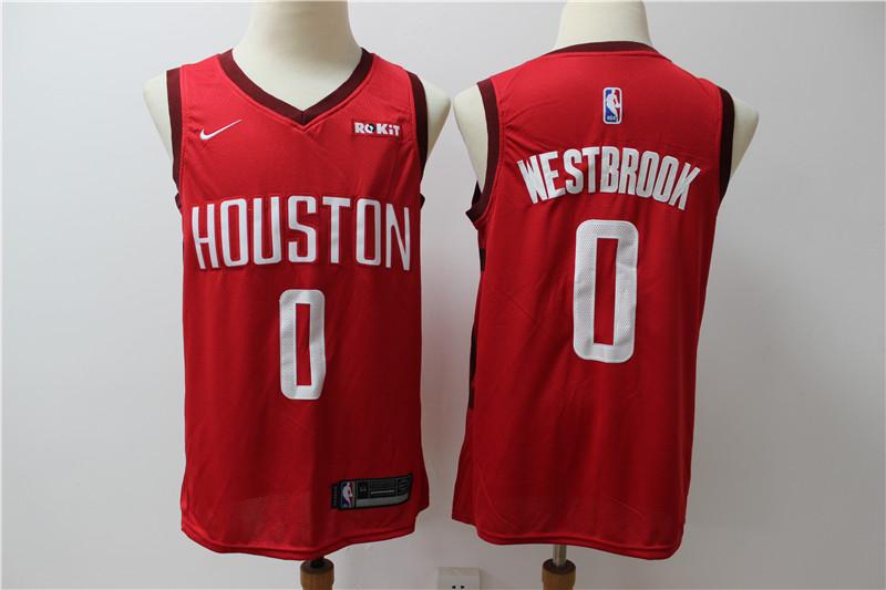 Rockets 0 Russell Westbrook Red Nike Earned Edition Swingman Jersey