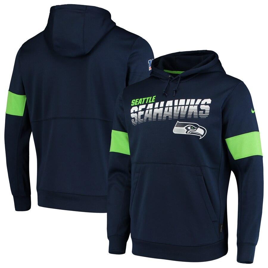 Seattle Seahawks Nike Sideline Team Logo Performance Pullover Hoodie College Navy