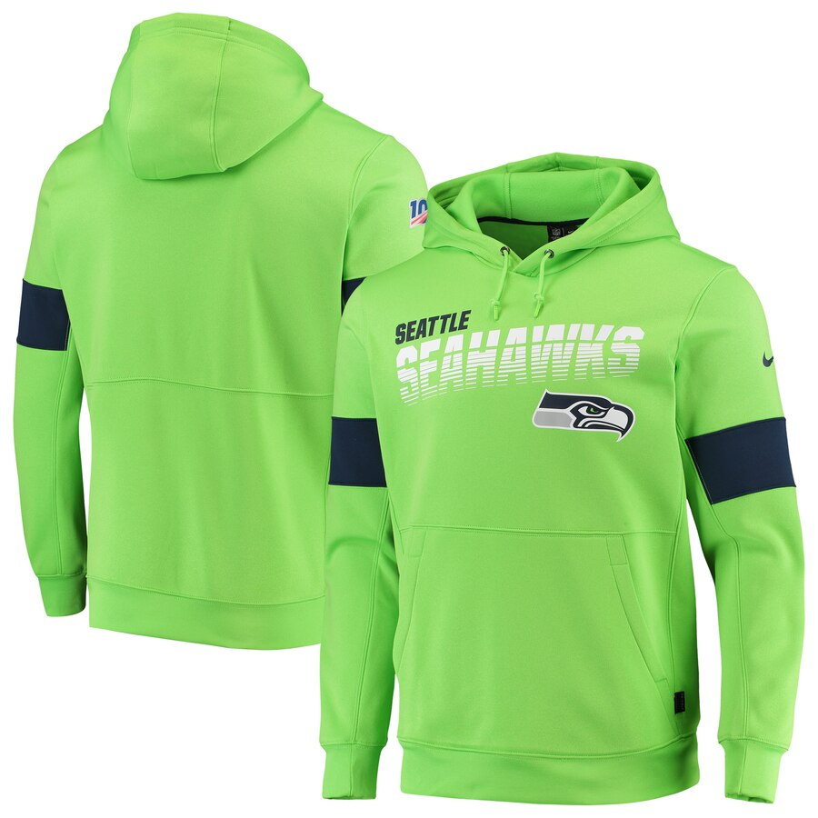 Seattle Seahawks Nike Sideline Team Logo Performance Pullover Hoodie Neon Green