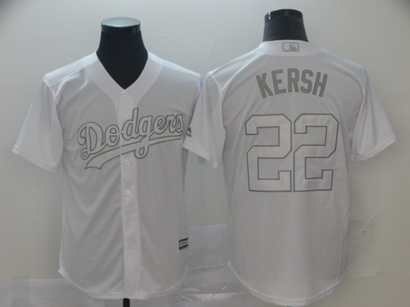 "Dodgers 22 Clayton Kershaw ""Kersh"" White 2019 Players' Weekend Player Jersey"
