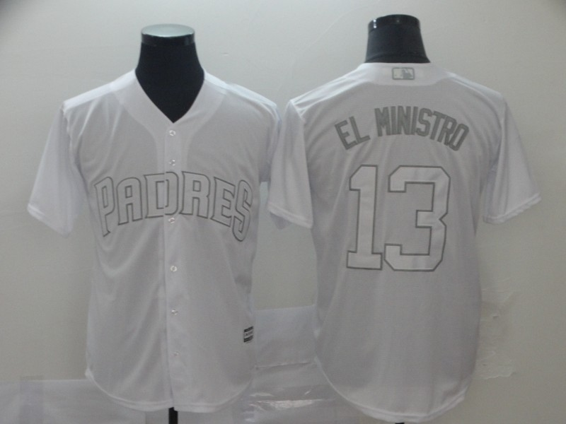 "Padres 13 Manny Machado ""El Ministro"" White 2019 Players' Weekend Player Jersey"