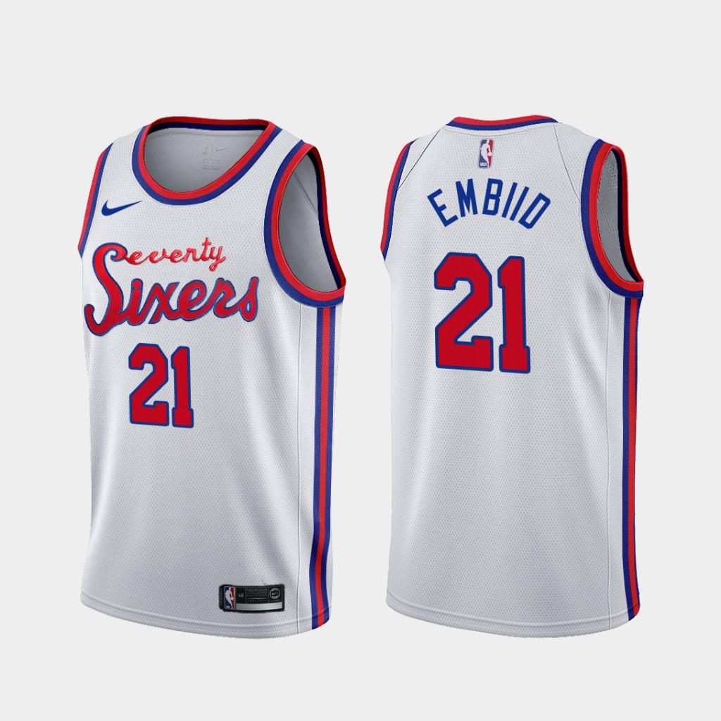 76ers 21 Joel Embiid White Nike Swingman Jersey