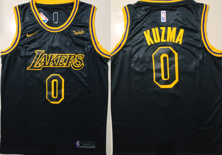Lakers 0 Kyle Kuzma Black Nike City Edition Swingman Jersey
