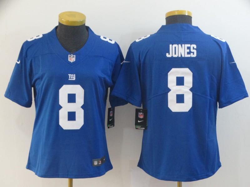 Nike Giants 8 Daniel Jones Royal Women Vapor Untouchable Limited Jersey