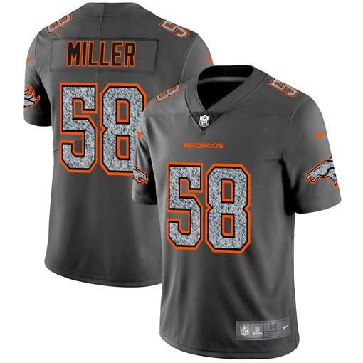 Nike Broncos 58 Von Miller Gray Camo Vapor Untouchable Limited Jersey