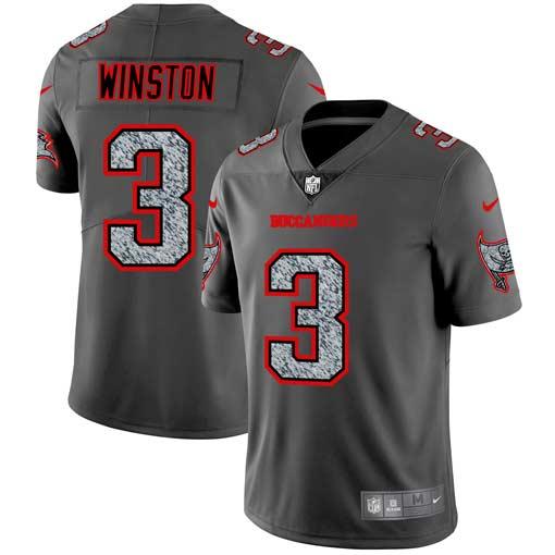 Nike Buccaneers 3 Jameis Winston Gray Camo Vapor Untouchable Limited Jersey