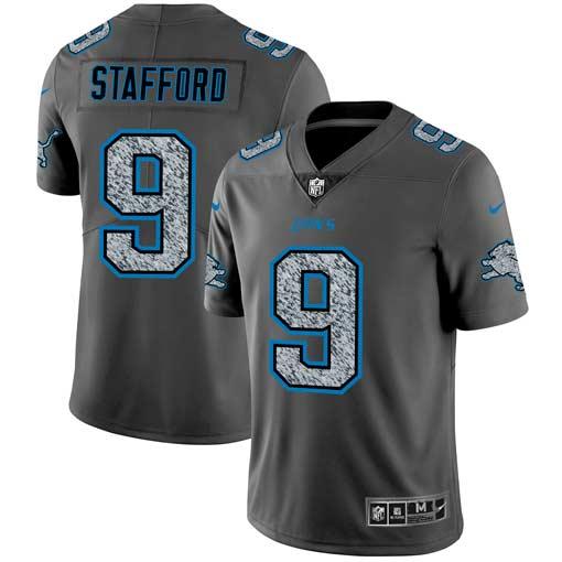 Nike Lions 9 Matthew Stafford Gray Camo Vapor Untouchable Limited Jersey