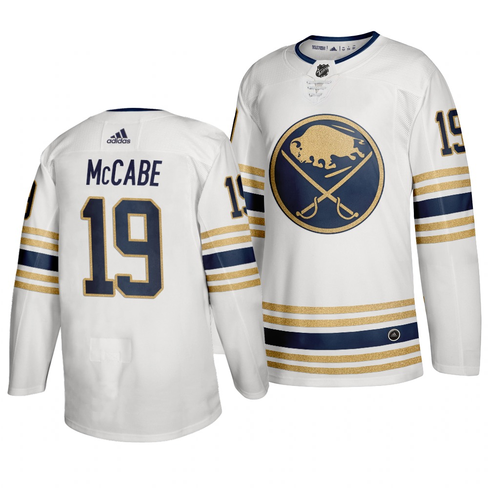 Sabres 19 Jake McCabe White 50th anniversary Adidas Jersey
