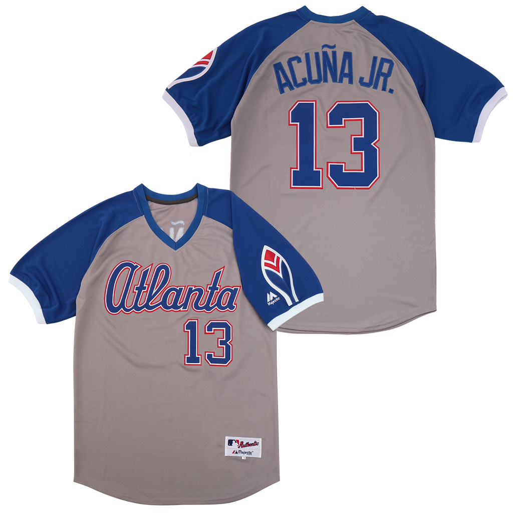 Braves 13 Ronald Acuna Jr. Gray Turn Back The Clock Jersey