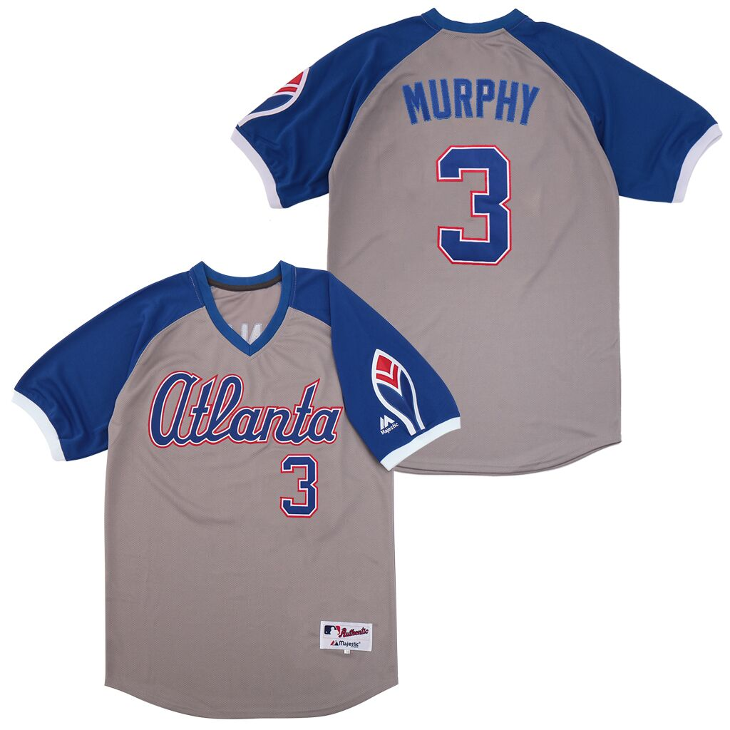 Braves 3 Dale Murphy Gray Turn Back The Clock Jersey
