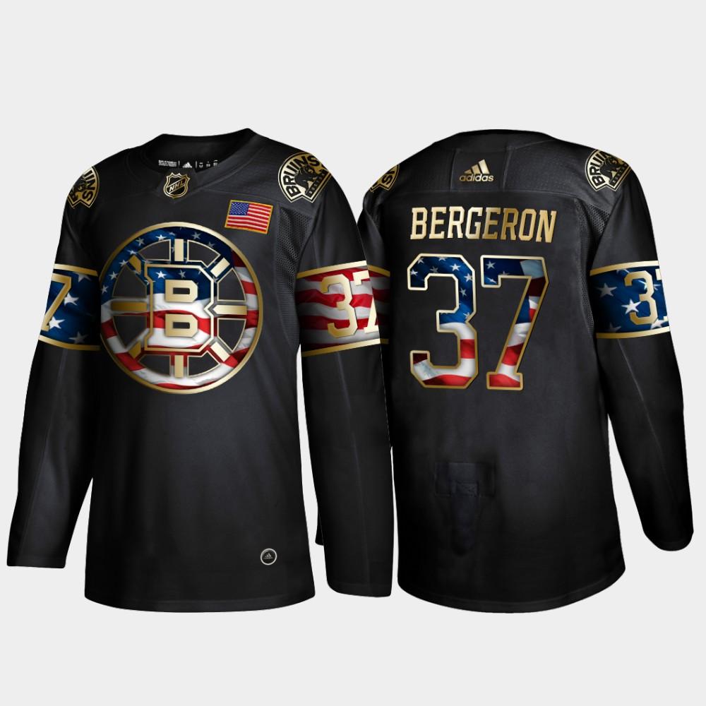 Bruins 37 Patrice Bergeron Black Gold USA Flag Adidas Jersey