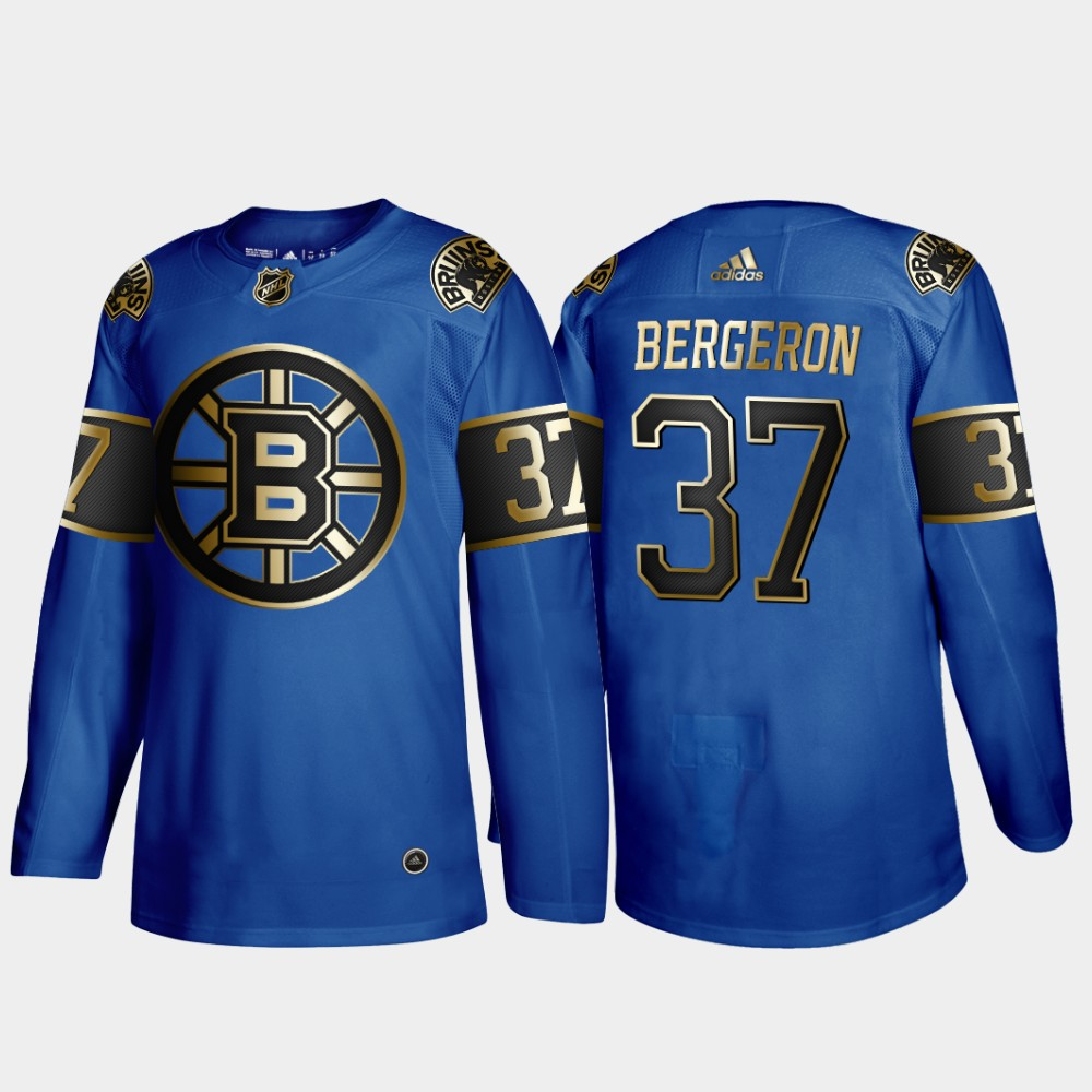 Bruins 37 Patrice Bergeron Blue 50th anniversary Adidas Jersey