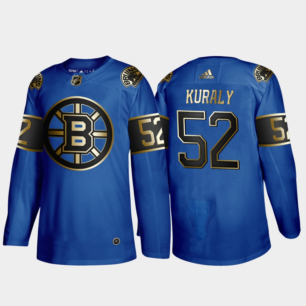 Bruins 52 Sean Kuraly Blue 50th anniversary Adidas Jersey