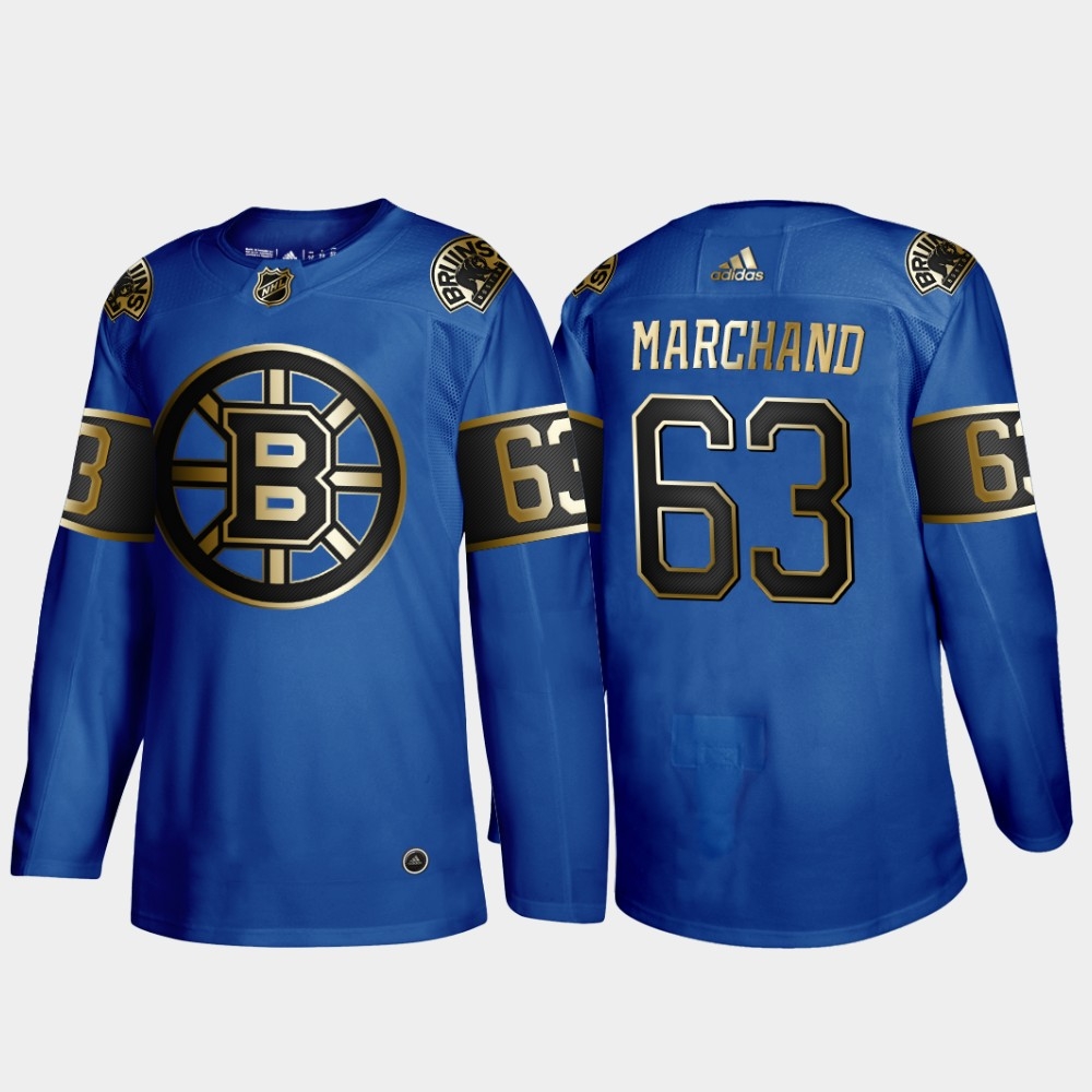 Bruins 63 Brad Marchand Blue 50th anniversary Adidas Jersey