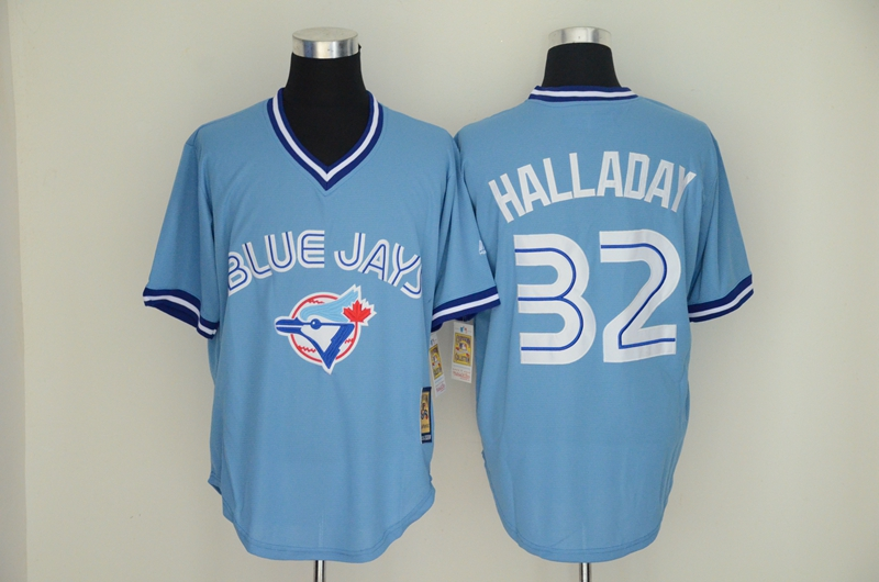 Blue Jays 32 Roy Halladay Light Blue Throwback Jersey