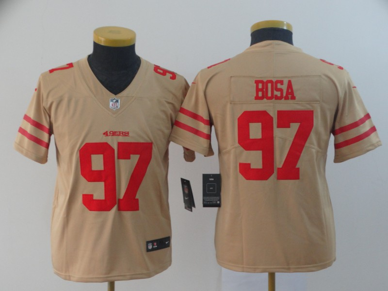Nike 49ers 97 Nick Bosa Cream Youth Inverted Legend Limited Jersey