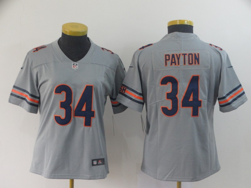Nike Bears 34 Walter Payton Gray Women Inverted Legend Limited Jersey