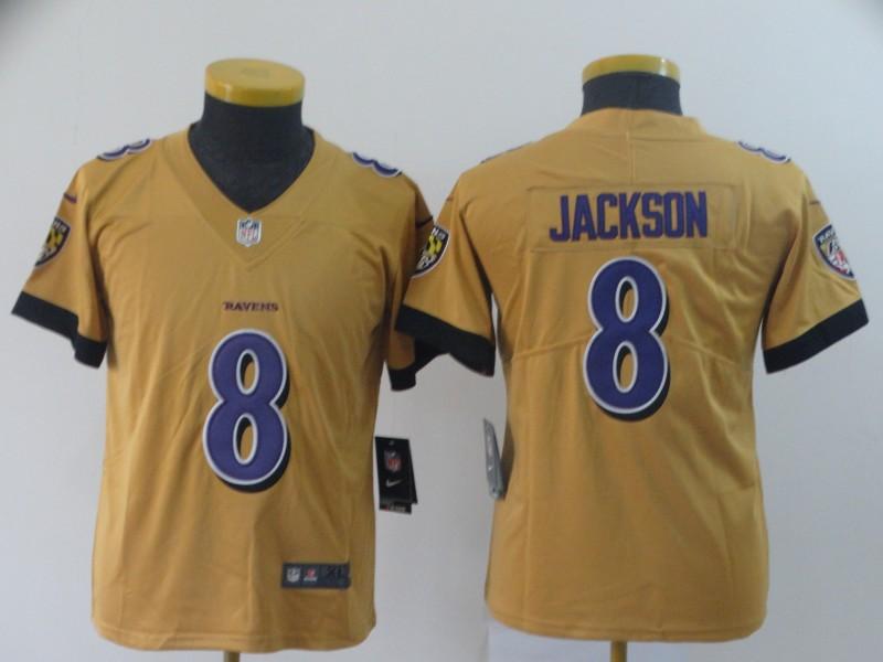 Nike Ravens 8 Lamar Jackson Gold Youth Inverted Legend Limited Jersey