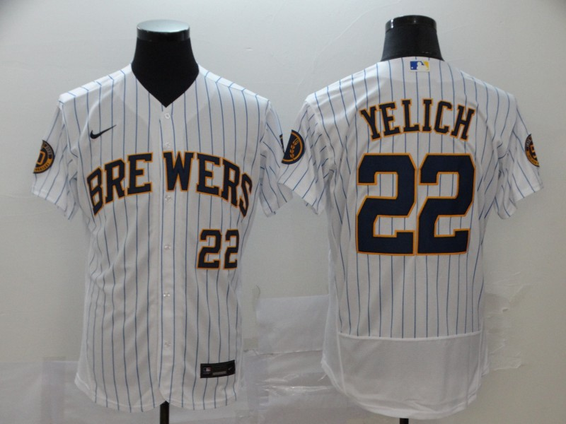 Brewers 22 Christian Yelich White Nike 2020 Flexbase Jersey