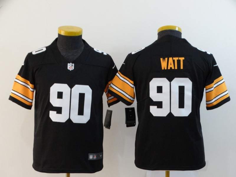 Nike Steelers 90 T.J. Watt Black Alternate Youth Vapor Untouchable Limited Jersey