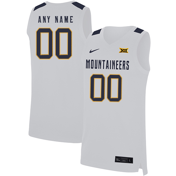 West Virginia Mountaineers Customized White Nike Basketball College Jersey