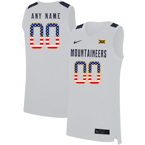 West Virginia Mountaineers Customized White USA Flag Nike Basketball College Jersey