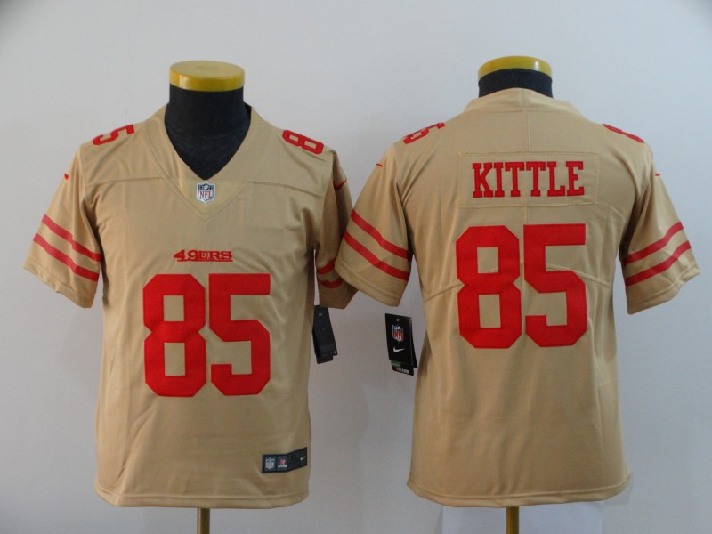 Nike 49ers 85 George Kittle Cream Youth Inverted Legend Limited Jersey