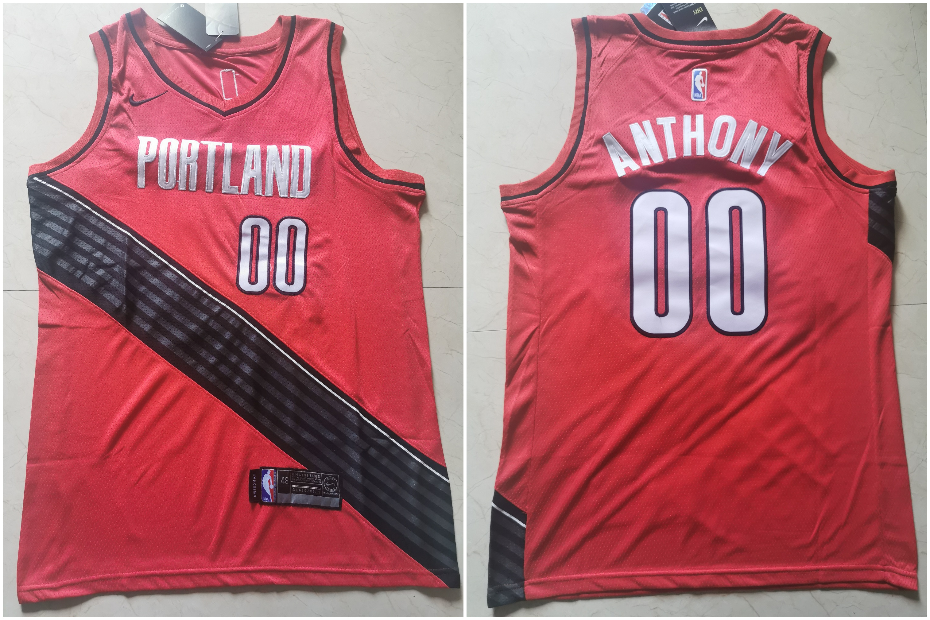 Blazers 00 Carmelo Anthony White City Edition Nike Swingman Jersey
