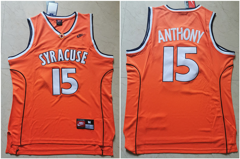 Syracuse University 15 Carmelo Anthony Orange Nike Basketball College Jersey