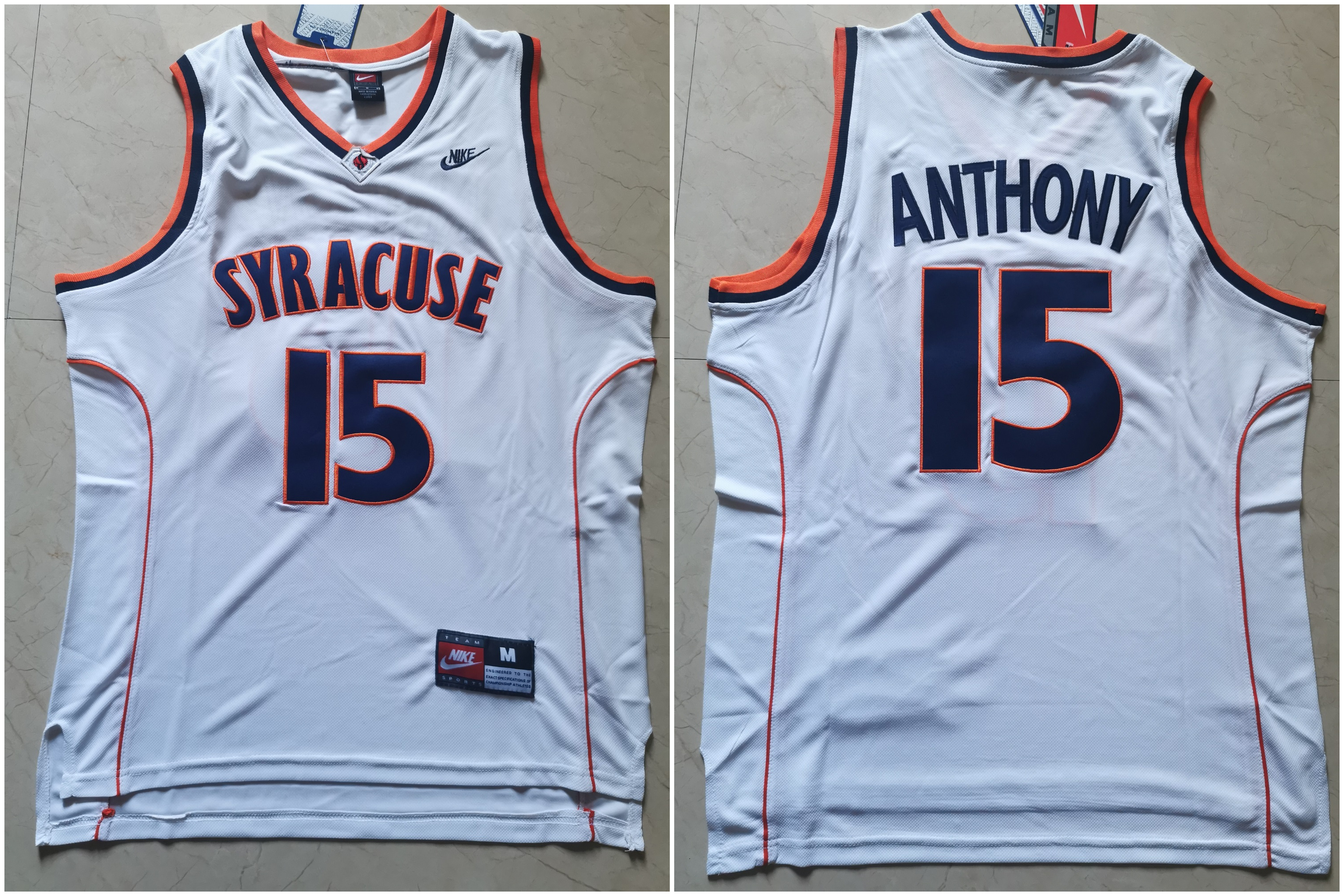 Syracuse University 15 Carmelo Anthony White Nike Basketball College Jersey