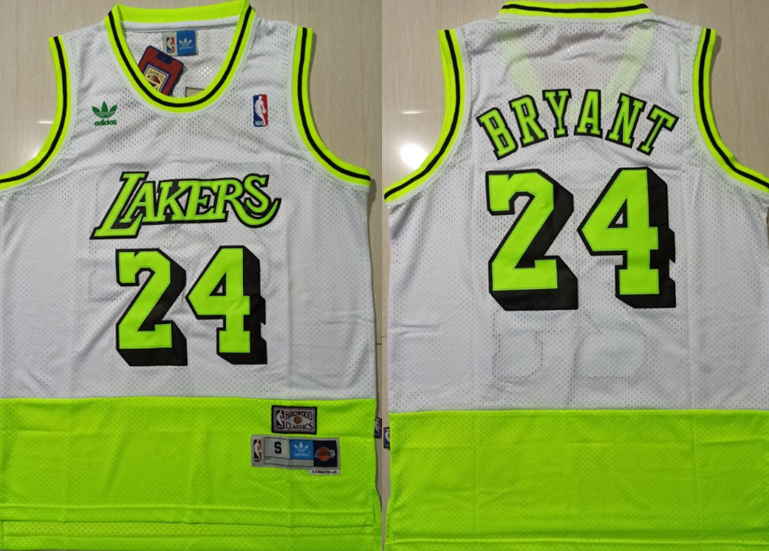 Lakers Bape 24 Kobe Bryant White Fluorescent Green Split Hardwood Classics Jersey