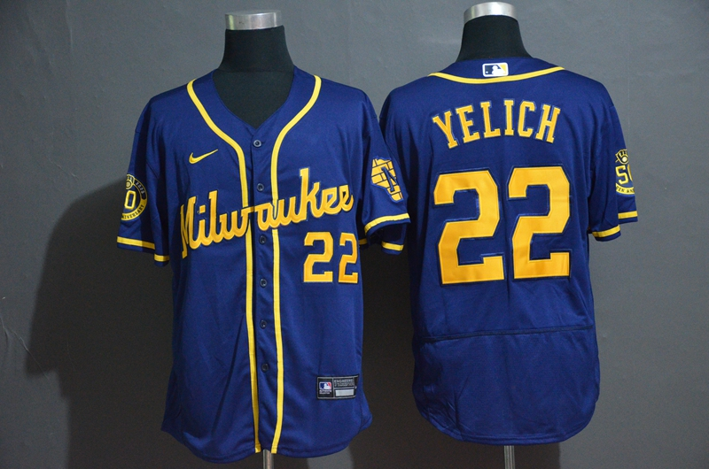 Brewers 22 Christian Yelich Royal Nike 2020 Flexbase Jersey