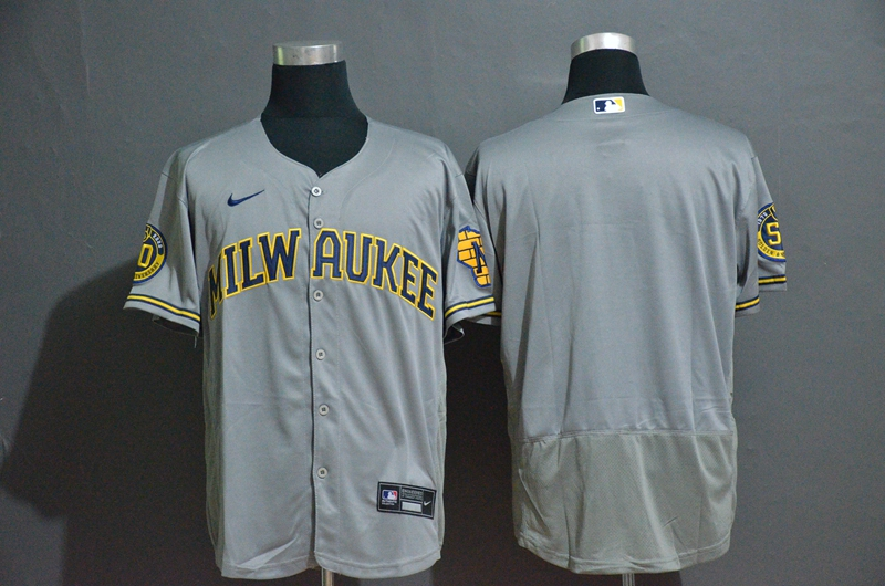 Brewers Blank Gray Nike 2020 Flexbase Jersey