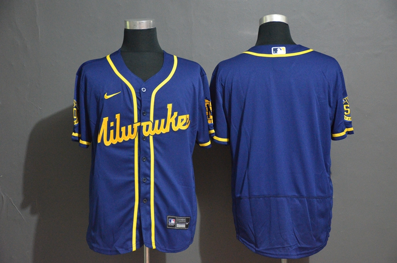 Brewers Blank Royal Nike 2020 Flexbase Jersey