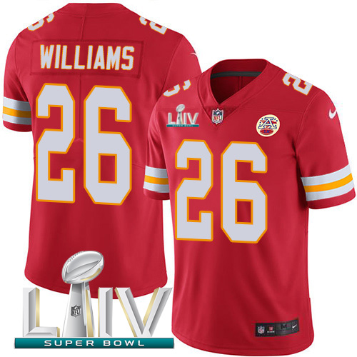 Nike Chiefs 26 Damien Williams Red 2020 Super Bowl LIV Vapor Untouchable Limited Jersey
