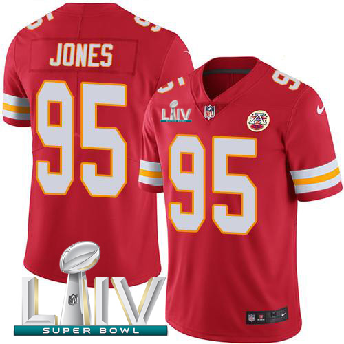 Nike Chiefs 95 Chris Jones Red 2020 Super Bowl LIV Vapor Untouchable Limited Jersey