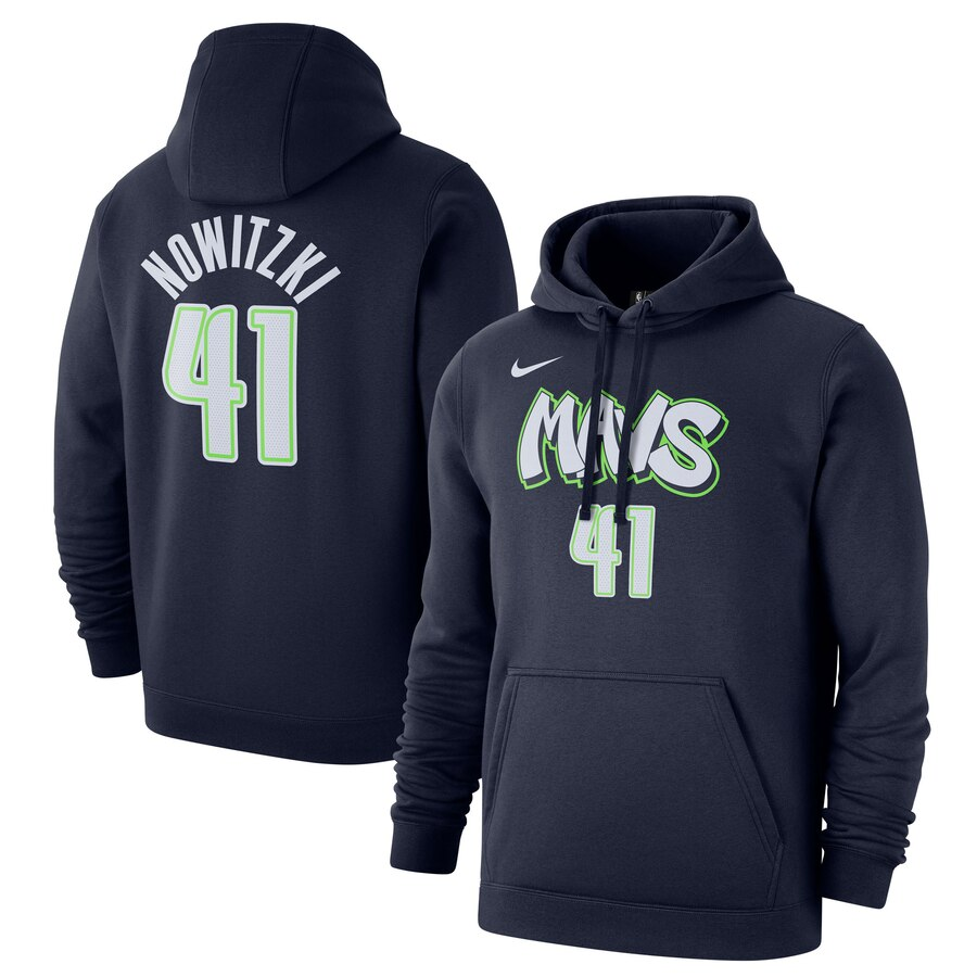 Dallas Mavericks 41 Dirk Nowitzki Nike 2019-20 City Edition Name & Number Pullover Hoodie Navy