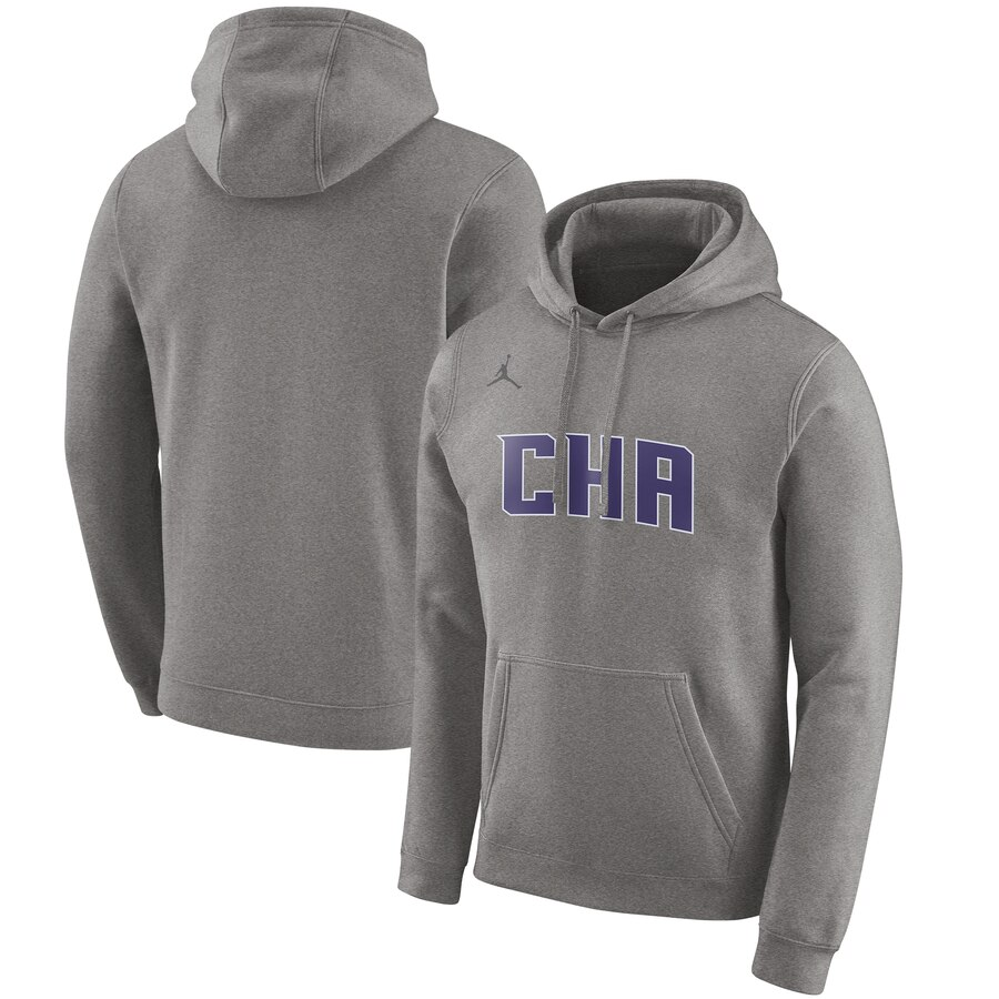 Charlotte Hornets Jordan Brand 2019-20 City Edition Club Pullover Hoodie Heather Gray