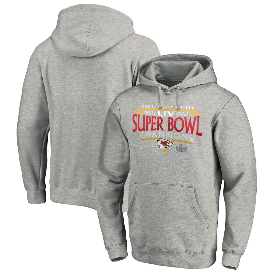 Kansas City Chiefs NFL Pro Line by Fanatics Branded Super Bowl LIV Champions Neutral Zone Pullover Hoodie Heather Gray
