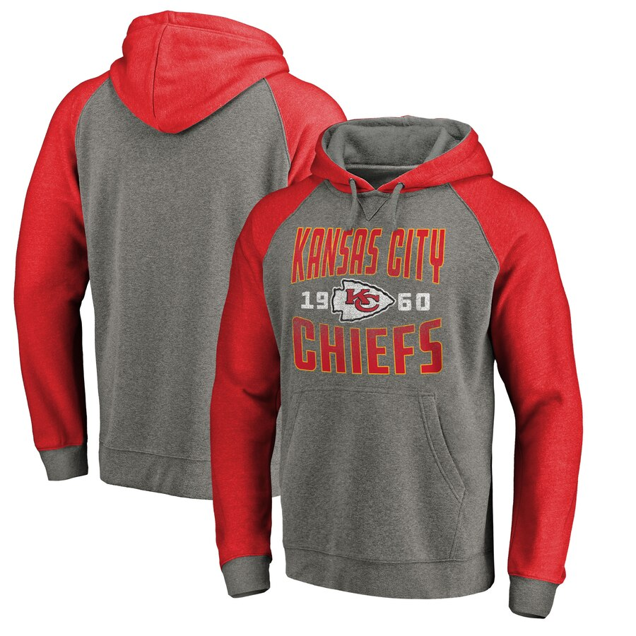 Kansas City Chiefs NFL Pro Line by Fanatics Branded Timeless Collection Antique Stack Tri Blend Raglan Pullover Hoodie Ash