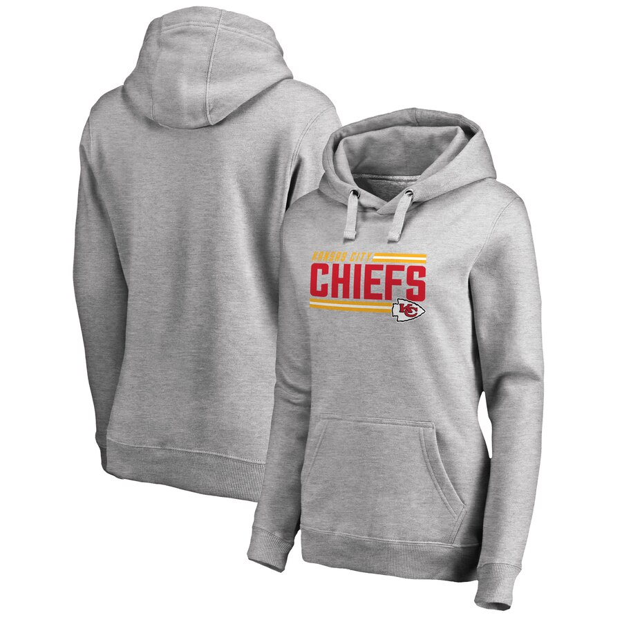 Kansas City Chiefs NFL Pro Line by Fanatics Branded Women's Iconic Collection On Side Stripe Plus Size Pullover Hoodie Ash